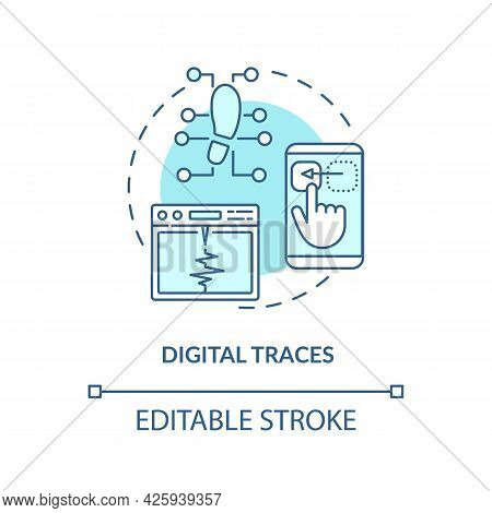 Digital Traces Concept Icon. Digital Twin Characteristics. Products Issues Diagnosing Strategy Abstr