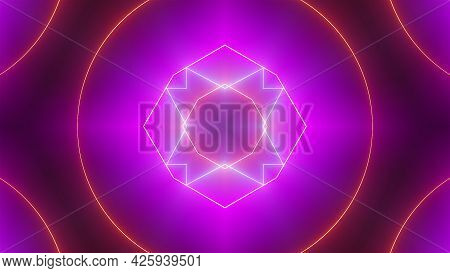 Abstract Neon Kaleidoscope Background, 3d Rendering Computer Generated Background