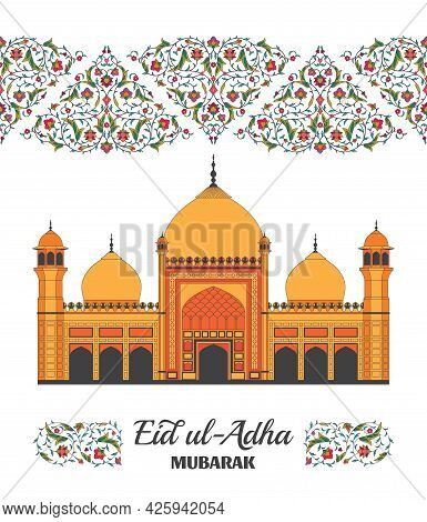 Eid Al Adha Background. Islamic Arabic Mosque. Arabesque Floral Pattern. Branches With Flowers, Leav