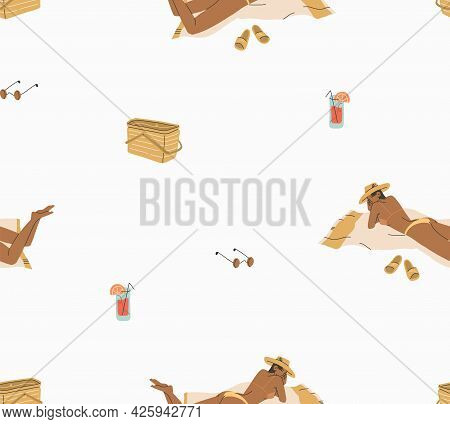 Hand Drawn Vector Abstract Stock Graphic Summer Time Cartoon, Minimalistic Style Illustrations Seaml