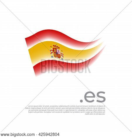 Spain Flag. Colored Stripes Of The Spanish Flag On A White Background. Vector Stylized Design Of Nat