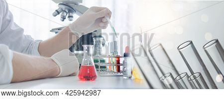 Health Care Scientist Research And Do Science Experiment Working In Life Science Laboratory. Close U