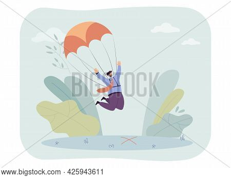 Happy Businessman With Parachute Landing In Right Location. Man Skydiving, Successful Landing Flat V