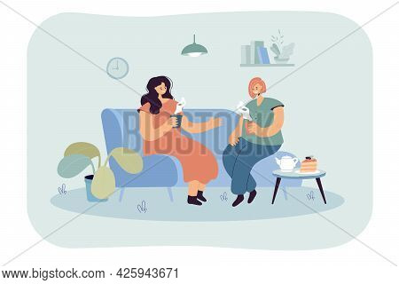 Two Happy Women Sitting On Comfy Couch With Hot Drinks. Flat Vector Illustration. Female Characters