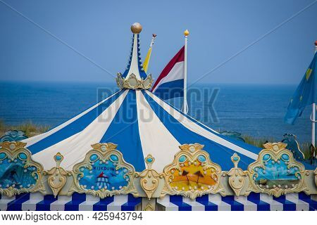 26 June 2021, The Hague, Netherlands, Carousel On The Bathing Area No.4 Or Strandslag, 4, On The Dun