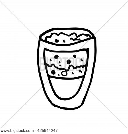 Doodle Transparent Glass With Tea Matcha On A White Background Isolated
