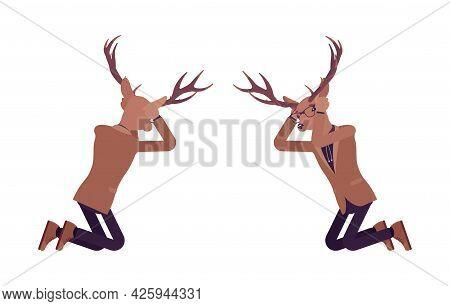 Deer Man, Mister Moose, Animal Head Human Knelt In Despair. Dressed Up Gentleman Having Large, Horns