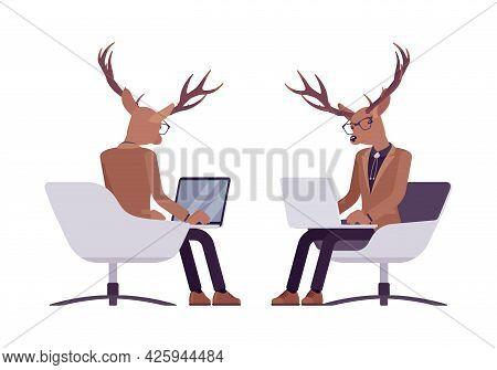 Deer Man, Mister Moose, Animal Head Human Sitting With Laptop. Dressed Up Gentleman Having Large, Ho