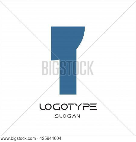 Letter T Logo, Hammer Abstract Symbol, Ax Sign, Geometric Monumental Label. Simple Embedded Letter F