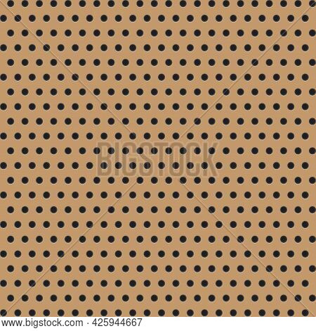 Peg Board Pattern Texture. Perforated Wall For Tools Background. Yellow Diagonal Striped Board With