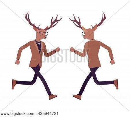 Deer Man, Elegant Mister Moose, Animal Head Stylish Human Jogging. Dressed Up Gentleman Having Large