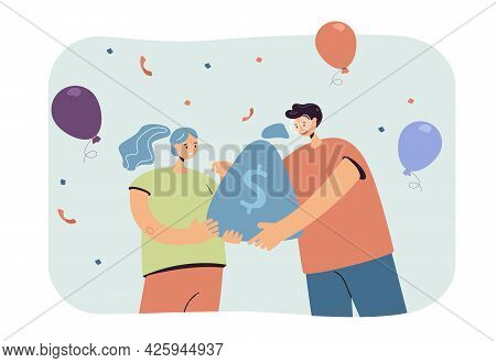 Friend Giving Woman Sack Of Money. Female Character Getting Rewards, Balloons And Confetti Flat Vect