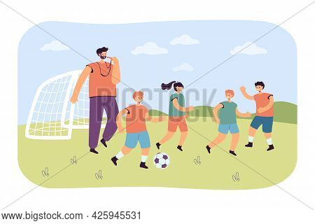 Team Of Little Football Players With Coach. Flat Vector Illustration. Boys And Girl Playing With Bal