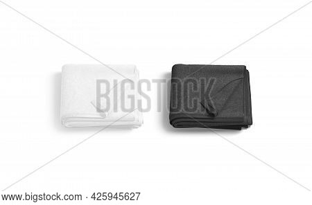 Blaank Black And White Folded Towel With Deferred Corner Mockup, 3d Rendering. Empty Soft Body Wiper