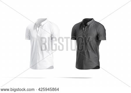 Blank Black And White Short Sleeve Button Down Shirt Mockup, 3d Rendering. Empty Textile Blouse For