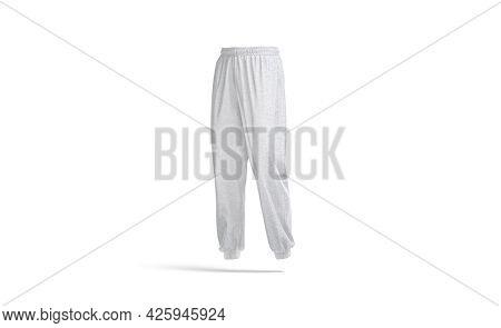 Blank Melange Sport Sweatpants Mock Up, Half-turned View, 3d Rendering. Empty Daily Trackpants For N