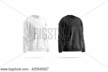 Blank Black And White Women Sweatshirt Mockup, Side View, 3d Rendering, Empty Cloth Jumper Or Sweate