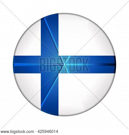 Glass Light Ball With Flag Of Finland. Round Sphere, Template Icon. Finnish National Symbol. Glossy