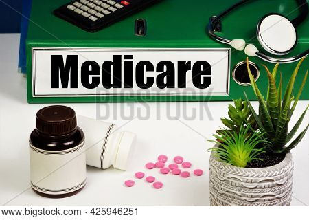 Medicare. A Text Label On The Folder. Health Insurance Program. Provides Well-being In Life Situatio
