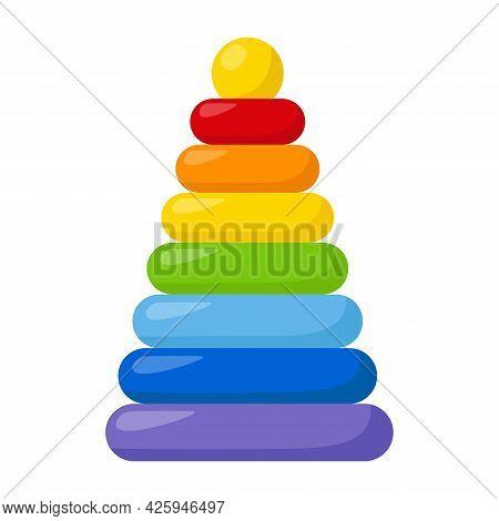 Kid Toy Pyramid On White Background, Vector Illustration
