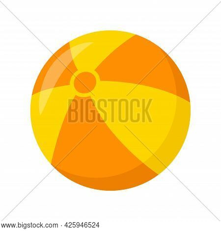 Kid Toy Ball On White Background, Vector Illustration