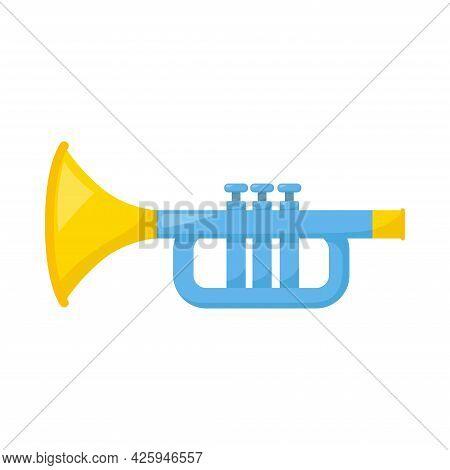 Kid Toy Trumpet On White Background, Vector Illustration
