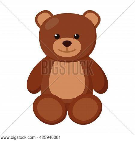 Kid Toy Bear On White Background, Vector Illustration