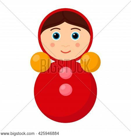 Kid Toy Tumbler On White Background, Vector Illustration