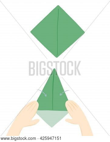 Step-by-step Kid Instruction For Making A Creative Origami Paper Flower. Gift For Mother, Sister Or
