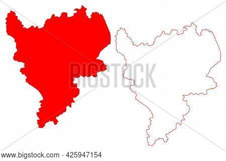 East Midlands Region (united Kingdom, Region Of England) Map Vector Illustration, Scribble Sketch Ea