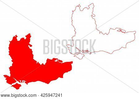 South East England Region (united Kingdom, Region Of England) Map Vector Illustration, Scribble Sket