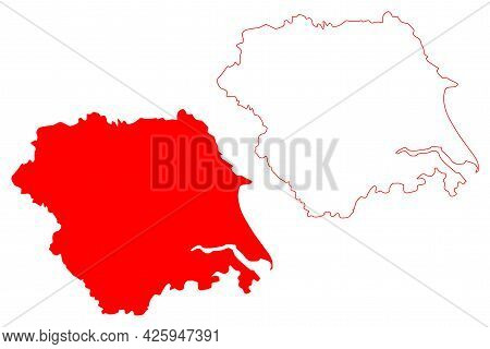 Yorkshire And The Humber Region (united Kingdom, Region Of England) Map Vector Illustration, Scribbl