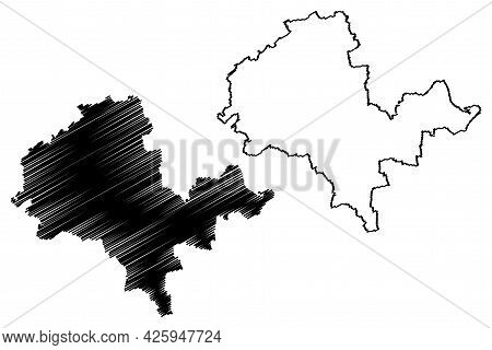 Alzey-worms District (federal Republic Of Germany, State Of Rhineland-palatinate) Map Vector Illustr
