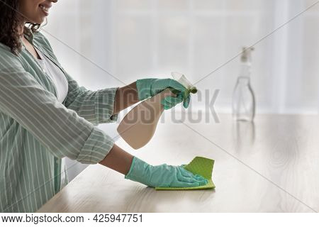 Household Chores With Cleaning Supplies, Female Feeling Full Of Energy To Make Furniture Super Clean