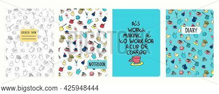 Cover Page Vector Templates With Coffee Cups, Pots, Cakes, Pastry And Funny Phrase. Headers Isolated