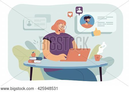 Young Woman Using Computer For Online Dating. Flat Vector Illustration. Girl Chatting With Men, Sear