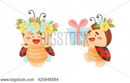 Cartoon Ladybug Carrying Gift Box And Wearing Floral Wreath Vector Set