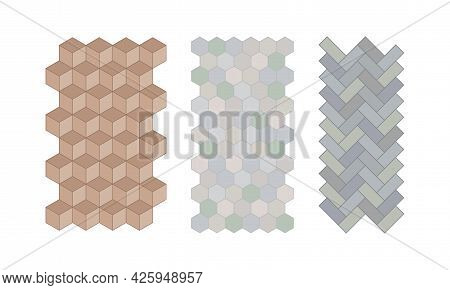 Flagstone For Pavement And Garden Walkway As Landscape Elements Vector Set