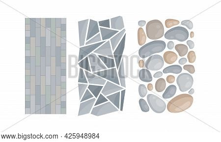Pebbles And Flagstone For Pavement And Garden Walkway As Landscape Elements Vector Set