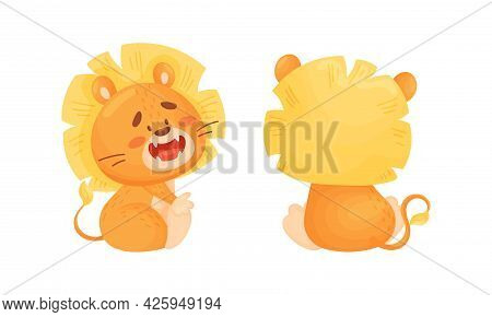 Cartoon Lion Cub Playful Character With Thick Mane Sitting And Smiling Vector Set