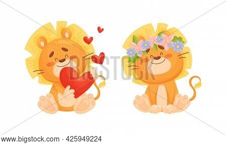 Cartoon Lion Cub Playful Character With Thick Mane Holding Heart And Wearing Floral Wreath Vector Se