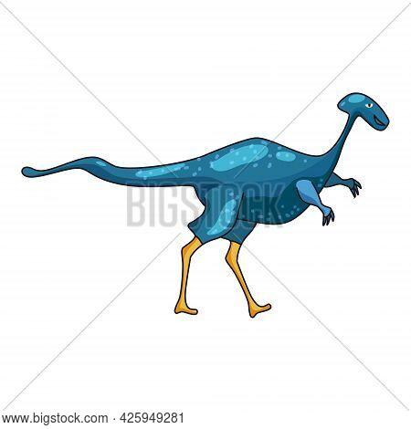 Funny Prehistoric Dicraeosaurus Dinosaurus. Ancient Wild Monsters Reptiles Cartoon Style. Vector Iso