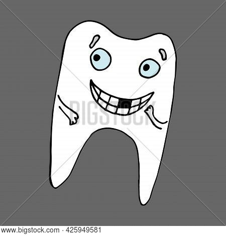 Funny Tooth Character. With Caries And Without Caries, Smiling And Crying. Vector Illustration. Isol