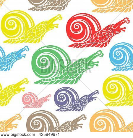 Seamless Pattern With Snails On White Background.