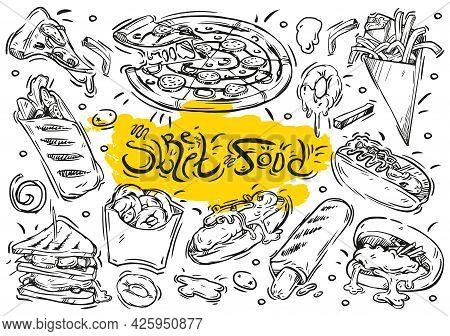 Hand Drawn Vector Line Illustration. Doodle Collection Street Food Menu: Burger, Sandwich, French Fr
