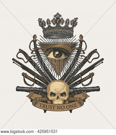 Vector Heraldic Coat Of Arms In Vintage Style With All-seeing Eye, Human Skull, Crown, Sabers, Sword