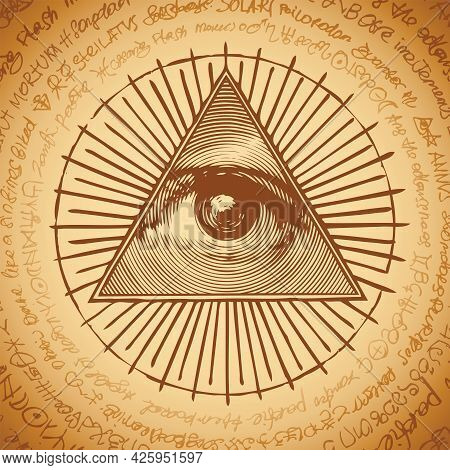 Vector Banner With The Masonic Symbol Of The All-seeing Eye Of God Inside Triangle Pyramid. Ancient