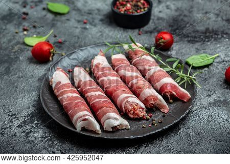 Raw Barbecue Sausages. Munich Veal Sausages. Banner, Menu, Recipe Place For Text, Top View.