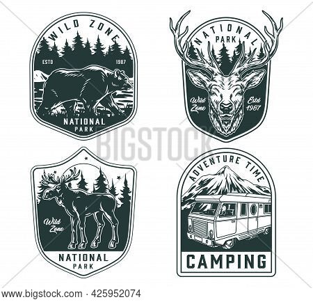 Outdoor Recreation Monochrome Vintage Emblems With Deer Head Bear Moose On Forest Landscapes And Mot