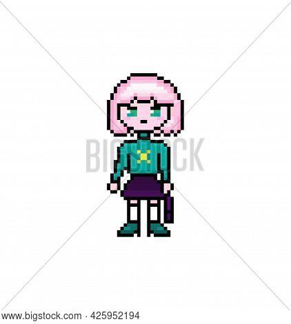 Pixel Smart Student, Anime Girl Character Witn Short Pink Hair